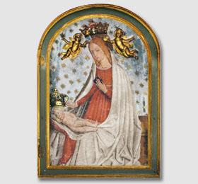 Immagine miracolosa della Beata Vergine Maria di San Giovanni venerata nel Santuario di Sommariva del Bosco,affreschi della Madonna nel cuneese,affreschi della Madonna a Cuneo,affreschi Madonna Piemonte