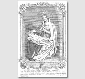 Stampa del Zambetti del 1778 con l´immagine della Vergine Maria nel Santuario di Sommariva del Bosco,opere del Zambetti,Zambetti stampe,le opere di Zambetti,la Madonna di Zambetti